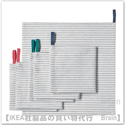 GRUPPERA:布ナプキン33x33 cm(ホワイト/ブラック)【6枚セット】