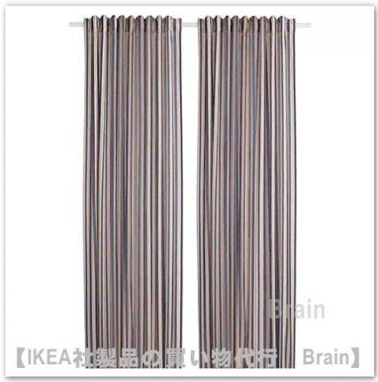 BERGSKRABBA:カーテン1組145x250 cm(ブルー/レッド ストライプ)