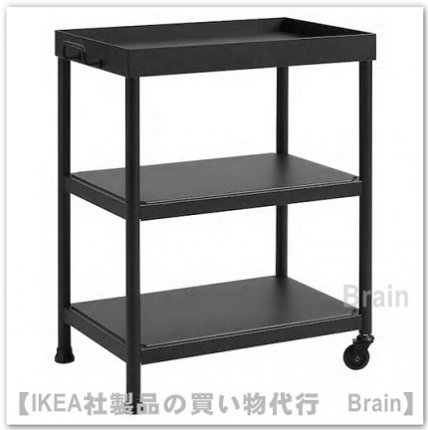 KORNSJÖ:ベッドサイドテーブル(ブラック)