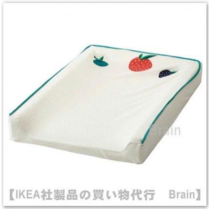 VÄDRA:カバー ベビーケアマット用48x74 cm(果物・野菜 模様/ホワイト)
