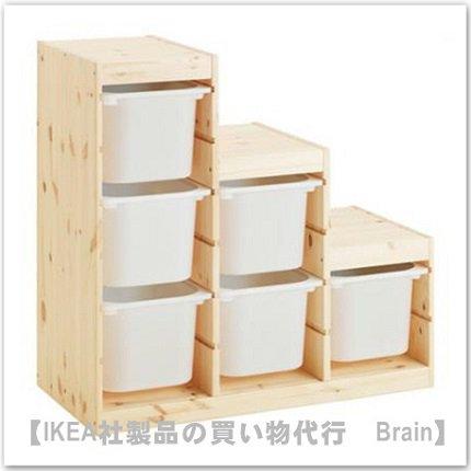 TROFAST:収納コンビネーションボックス付き94x44x91 cm(パイン材/ホワイト)