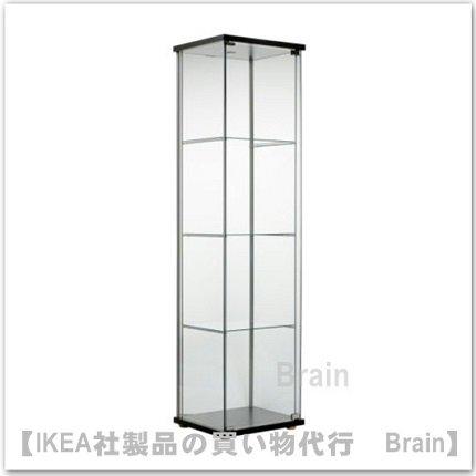 DETOLF:ガラス扉キャビネット43x163 cm(ブラックブラウン)