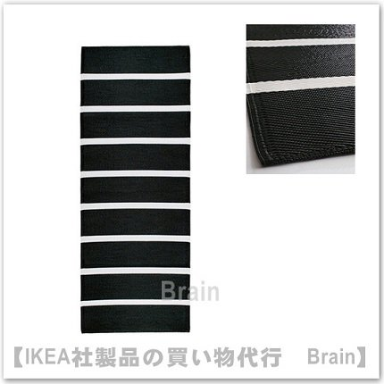 RÖRHOLT:ラグ 平織り75x200 cm(ブラック/ホワイト)
