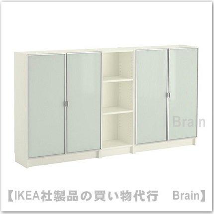 BILLY/ MORLIDEN:書棚200x106x30 cm(ホワイト/ガラス)