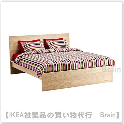 MALM:ベッドフレーム(高め)(ホワイトステインオーク材突き板)【各サイズから選べます】