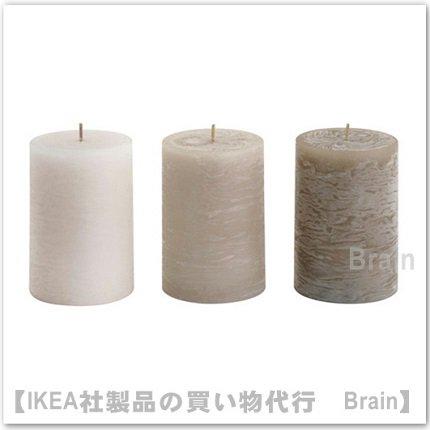 LUGGA :香り付きブロックキャンドル10 cm(ベージュ)【3個セット】