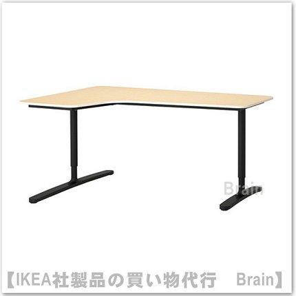 BEKANT:コーナーデスク 【左】160×110�(バーチ材突き板/ブラック)