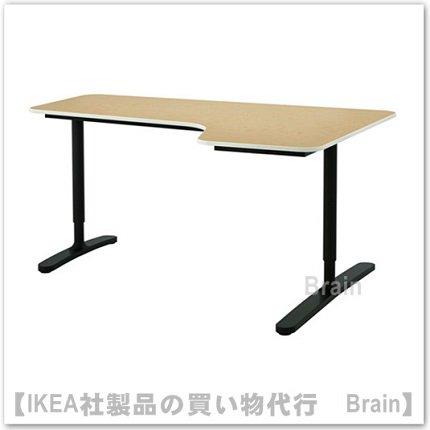 BEKANT:コーナーデスク 【右】160×110�(カラー:バーチ材突き板/ブラック)