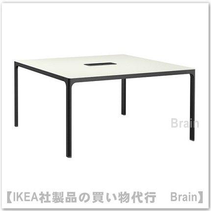 BEKANT:会議用テーブル140×140�(ホワイト/ブラック)