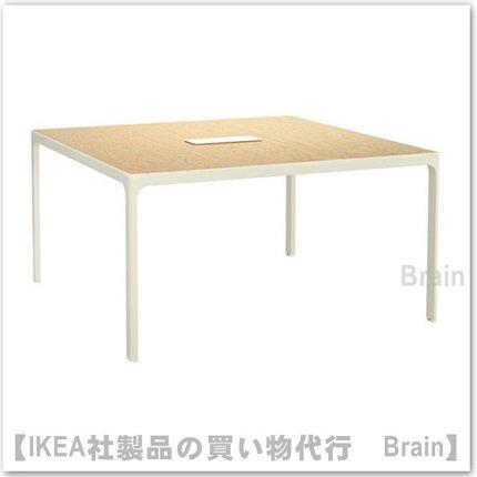 BEKANT:会議用テーブル140×140�(バーチ材突き板/ホワイト)
