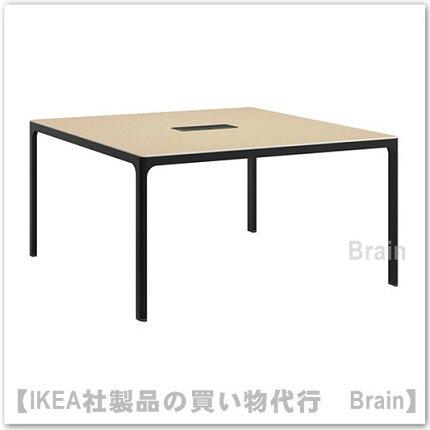 BEKANT:会議用テーブル140×140�(バーチ材突き板/ブラック)