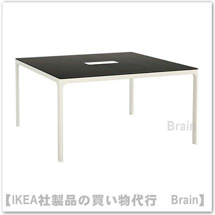 BEKANT:会議用テーブル140×140�(ブラックブラウン/ホワイト)