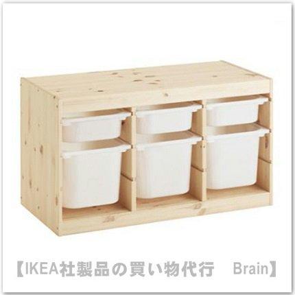 TROFAST:収納コンビネーション ボックス付き94x44x52 cm(パイン材/ホワイト)