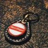 ボトルキャップキーリング / レッドストライプ(BEER BOTTLE CAP KEY RING / RED STRIPE)