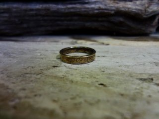France 20 Centimes Coin Ring / フランス 20サンチーム コインリング