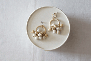 Earring or Pierce / Wood & Antique crochet balls