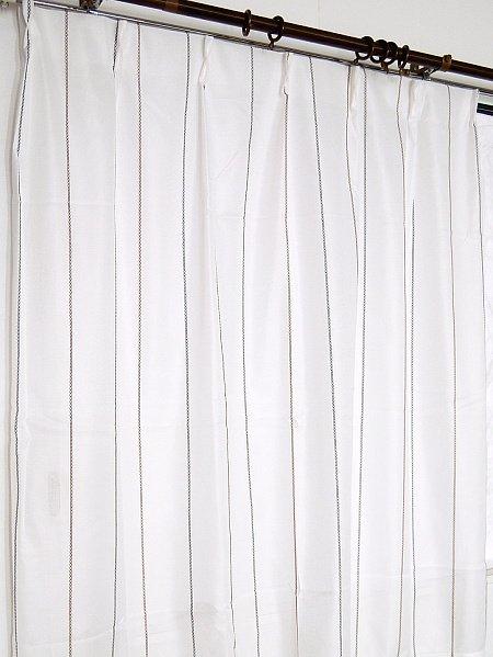 ミラーレースカーテンの通販ブラウン色ピンストライプ柄 - おしゃれ アジアン カーテンの通販【テレマカシイ】