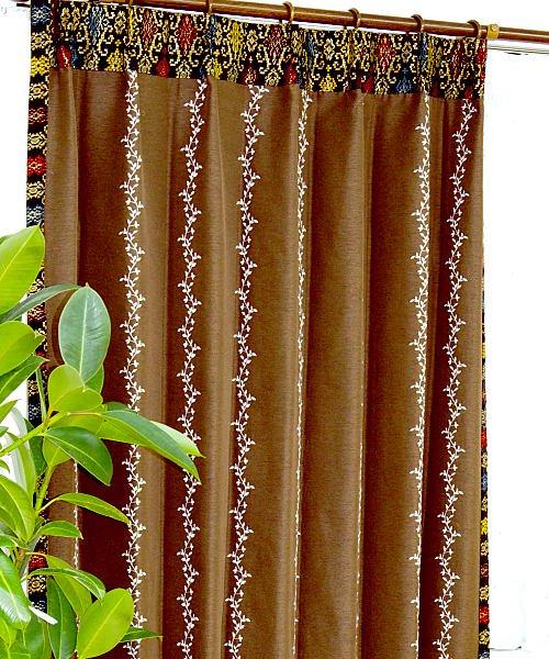 カーテン アジアン 遮光 おしゃれ 刺繍 上飾り シェリー ブラウン色 マーズ
