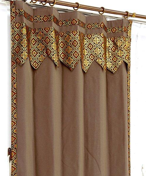 カーテン かわいい エスニック 防炎 遮光1級 ブラウン色 エクシード レジェンダ
