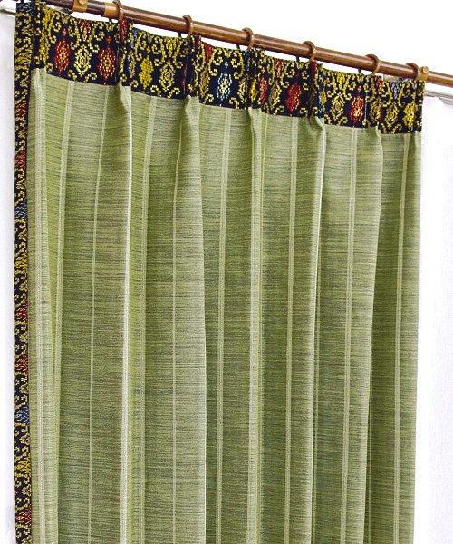カーテン 遮光 防炎 おしゃれ エスニック かわいい 飾り付き グリーン色 ストライプ柄 ソリッド マーズ