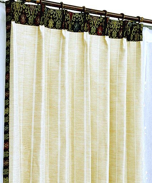 カーテン 遮光 防炎 おしゃれ アジアン かわいい 飾り付き ベージュ色 ストライプ柄 ソリッド マーズ