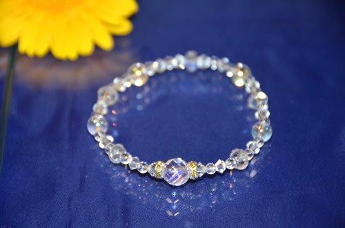 〔天然水晶〕 発晶ブレス トゥインクルクリスタルB (オーロラ水晶・スワロフスキー使用) 新発売