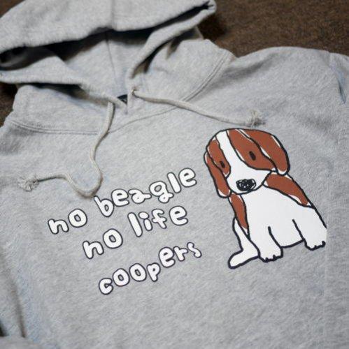 ■定番商品■プルオーバーパーカー[no beagle no life]グレーの商品画像