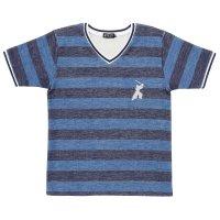 Tシャツ Vネック 半袖 メンズ 2016SS 16. サムライ 侍柄  ボーダー ブルー 日本製