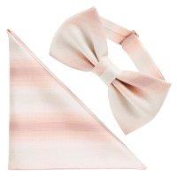 蝶ネクタイ 西陣織 シルク(ボウタイ)ワンタッチ ポケットチーフセット - 12. ホライズン ピンク 日本製