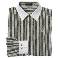 ドレスシャツ 長袖 メンズ - 19. MASAMUNE 博多紋 ちりめん クレリックシャツ 白  日本製