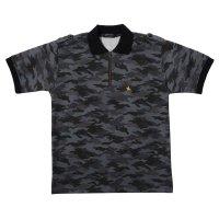 ポロシャツ  半袖  メンズ 19. MASAMUNE マサムネ 迷彩柄 ジッパー ブラック日本製