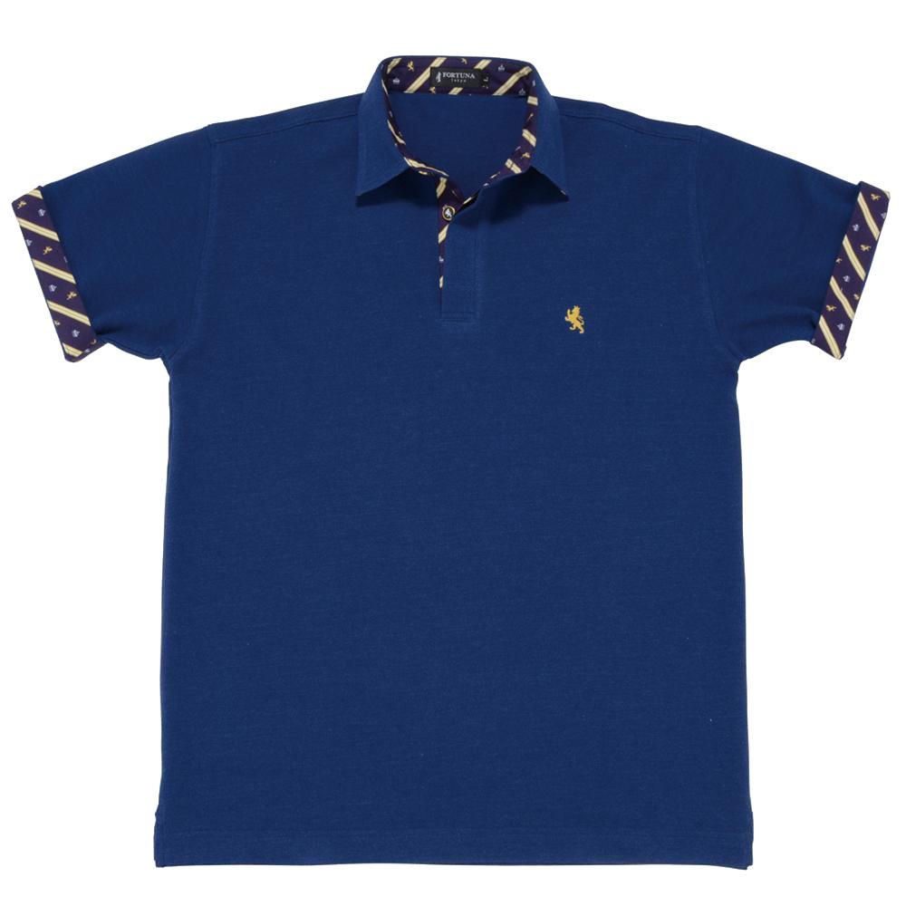 08. キング(ブルー)ライオン・王冠柄 ポロシャツ 半袖