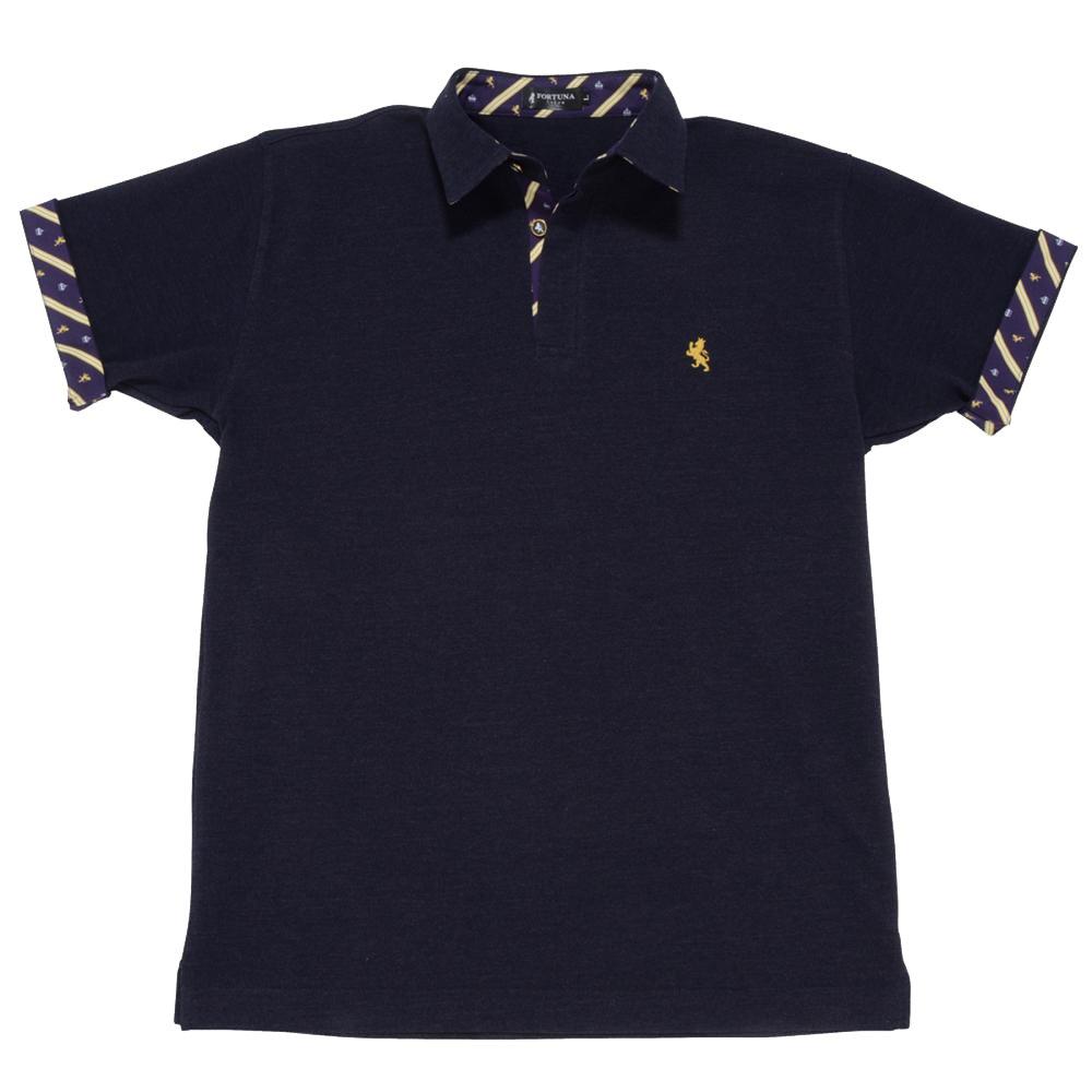 08. キング(ネイビーブルー)ライオン・王冠柄 ポロシャツ 半袖