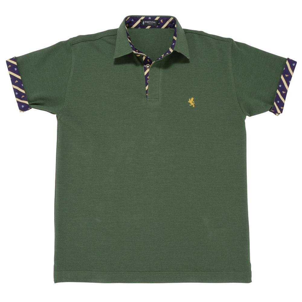 08. キング(グリーン)ライオン・王冠柄 ポロシャツ 半袖