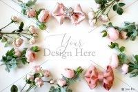 【写真素材】ラブリボン、ピンク ミランダ キャメロン、花、ローズ、フレーム素材(Mサイズ)