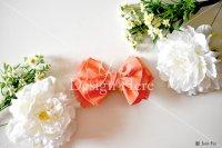 【写真素材】ラブリボン、オレンジ オードリー 、白い花(Sサイズ)
