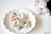【写真素材】ラブリボン、白のミランダ&ピンクのヴィヴィアン、ローズ、花束(Mサイズ)