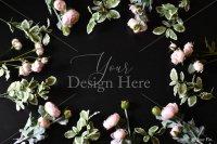 【写真素材】ジュールフィン、ピンク、バラの花、フレーム、背景、黒(Mサイズ)
