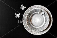 【写真素材】ジュールフィン、グレー食器、レース、蝶、陶器(Mサイズ)