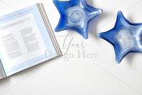 【写真素材】ジュールフィン、爽やかブルー系、洋書、星のガラス食器(Mサイズ)