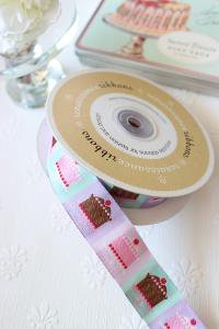 USAリボン ケーキ柄 ラベンダー 28m/m巾