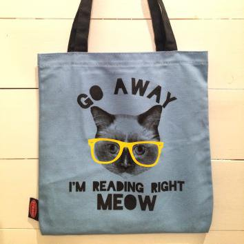 STRAND TOTE Blue Reading Right Meow