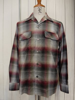 WACKO MARIA OMBRAY CHECK OPEN COLLAR SHIRT (TYPE-1)