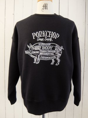 PORK CHOP PORK FRONT STITCH SWEAT / BLACK