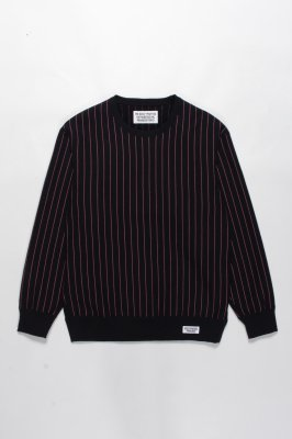 WACKO MARIA STRIPED CREW NECK SWEAT SHIRT