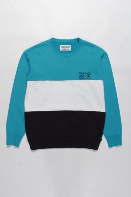 WACKO MARIA THREE-TONE CREW NECK SWEAT SHIRT