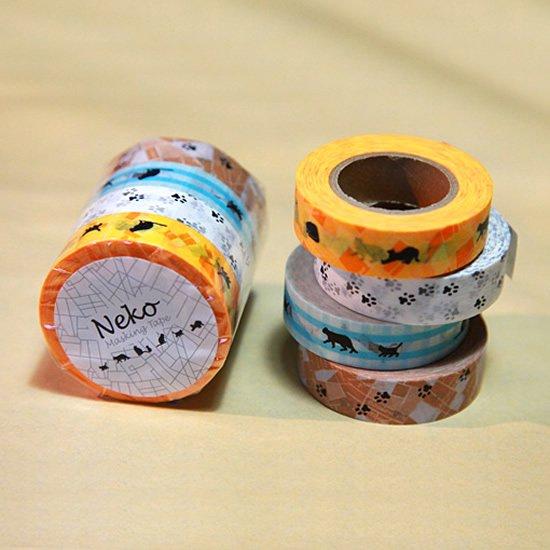 ネコ柄のマスキングテープ4巻セット