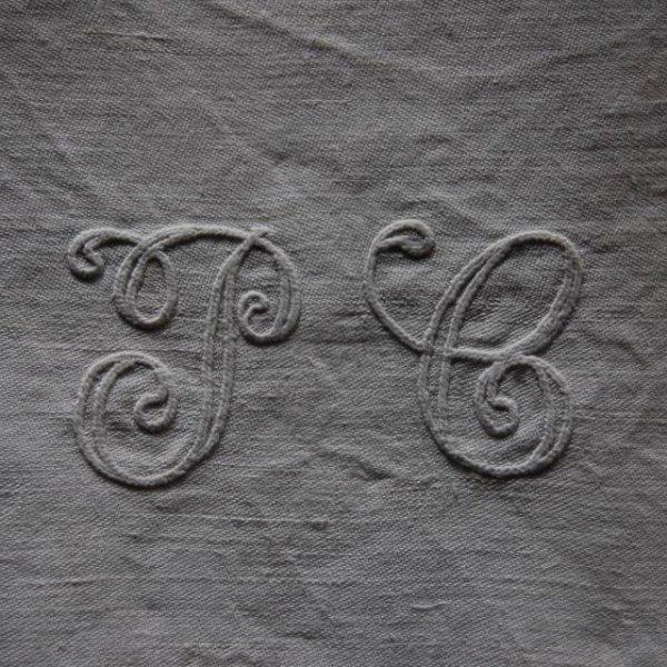 serviette de table damassé  -  monogrammé PC 6→0