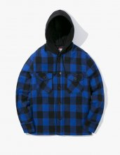 2017FW hooded flannel jacket Blue
