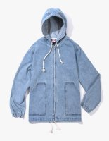 ZIP-UP PONCHO JACKET LIGHT DENIM